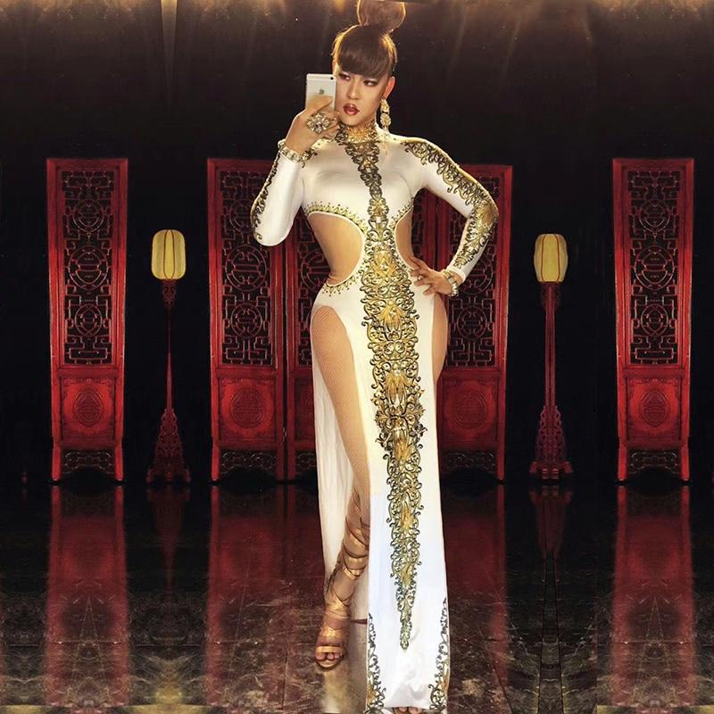 A sexy e luxuoso branco impressão ouro clássico sexy vestido nightclub  cantor dançarinos trajes b75b8fa675b5