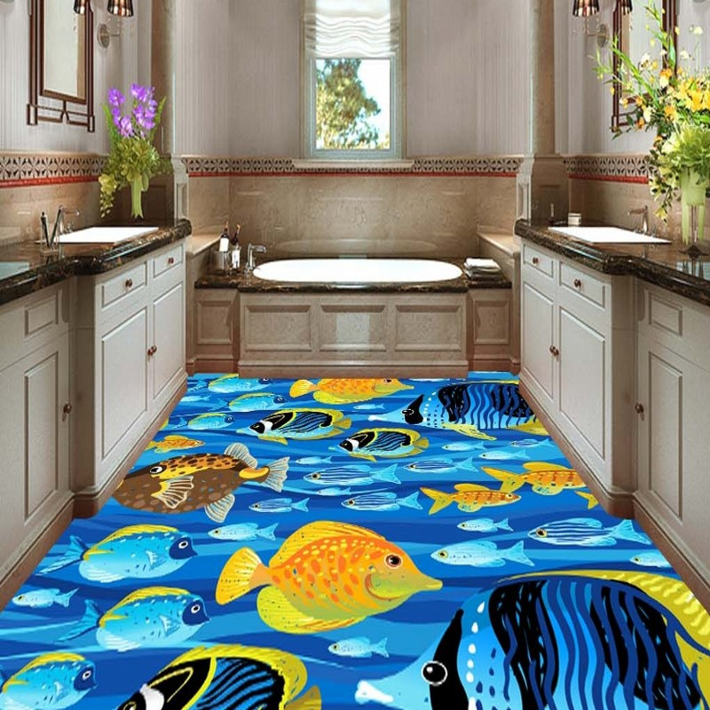 Free shipping high quality street living room 3D stereo marine tropical fish non-slip wear floor wallpaper mural free shipping basketball function restaurant background wall waterproof high quality stereo bedroom living room mural wallpaper