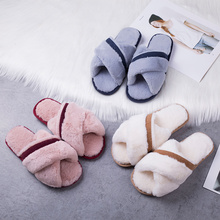1 pairs Winter Women Home Slippers with Faux Fur Fashion Warm Shoes Woman Slip on Flats Female Slides Black Pink Plus Size 40