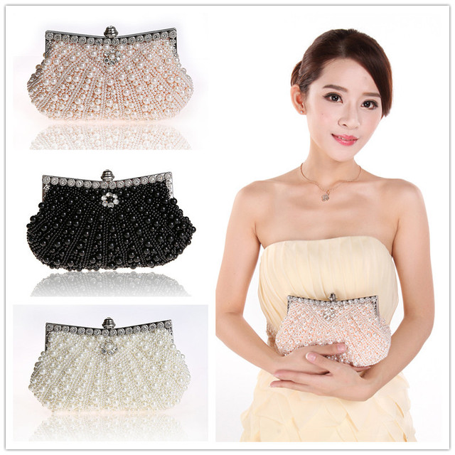 Evening Dinner Party Bags Fashion Satin Fabric Artificial Beads Pearl Women's Night Clutches Ladies Wedding handbag Magic Moment