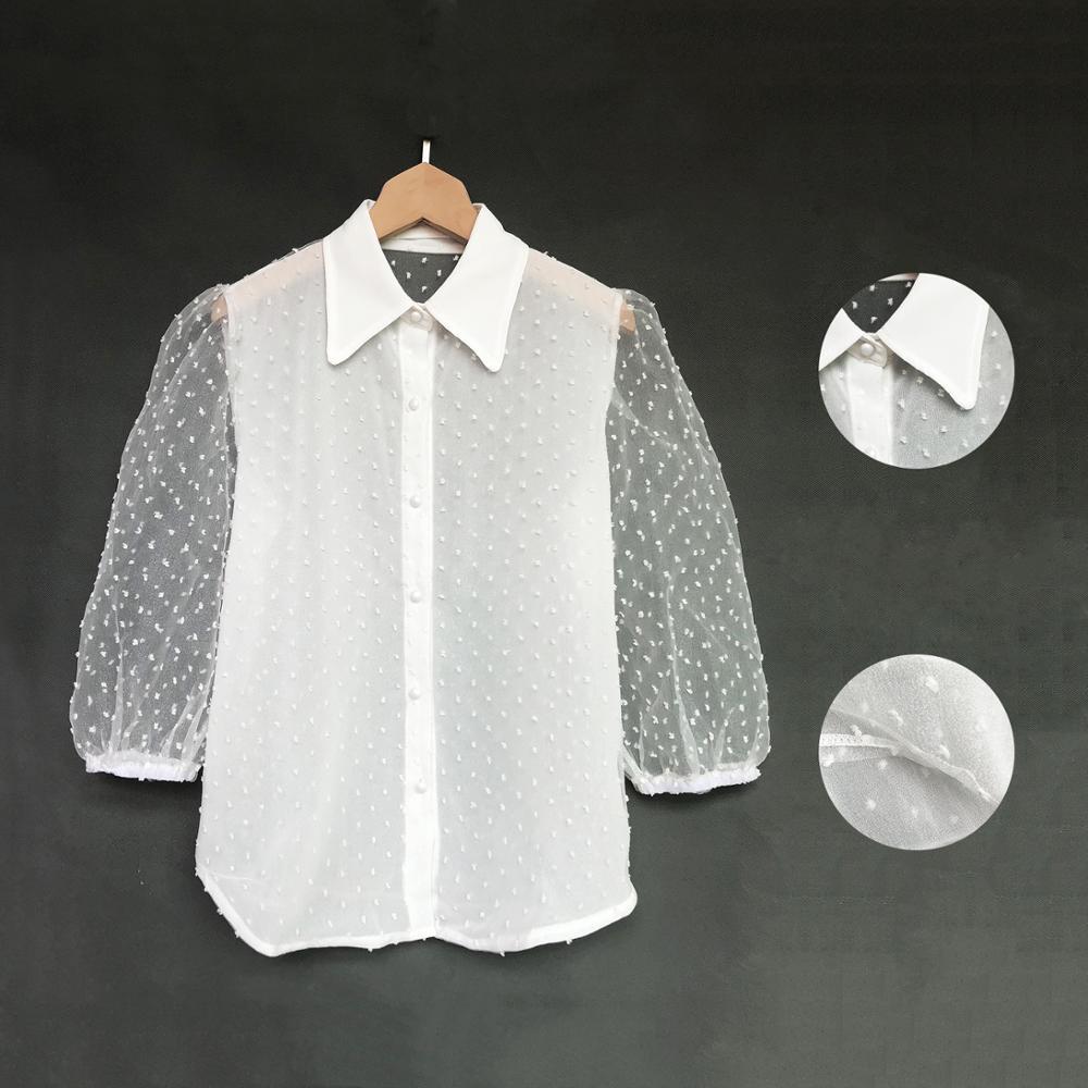 Fantoye Spring New Women Chiffon Blouse Shirt Sexy Transparent Mesh Beading Puff Sleeve Female office Shirts