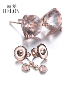 Image 2 - HELON 2.5ct Round Cut Morganite Engagement Wedding Stud Earrings Solid 10K Rose Gold Women Fine Jewelry Exquisite Earring