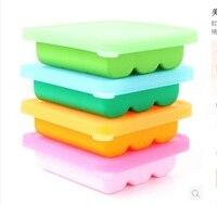 עובש קוביית קרח סיליקון פלטינה תיבת תוסף מזון לתינוקות מקפיא box 9 גריד עם מכסה