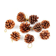 9pcs Christmas Tree Hanging Balls Pine Cones Pinecone Xmas New Year Holiday Party Decoration Ornament For