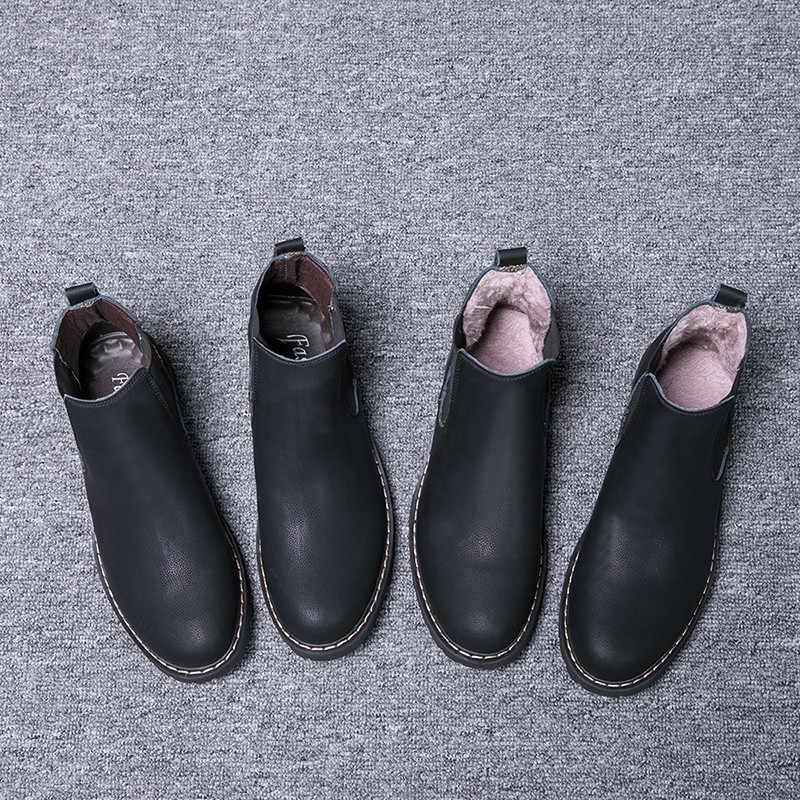 Big Size 37-47 Winter Schoenen Mannen Chelsea Laarzen Pluche Bont Heren Laarzen Lederen Schoeisel Mens Chelsea Laarzen sapato masculino PINSV
