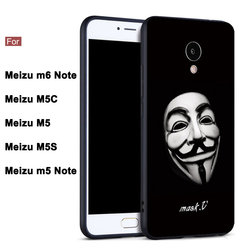 Meizu M Case Cover  inch Black TPU Soft Cover Phone Case