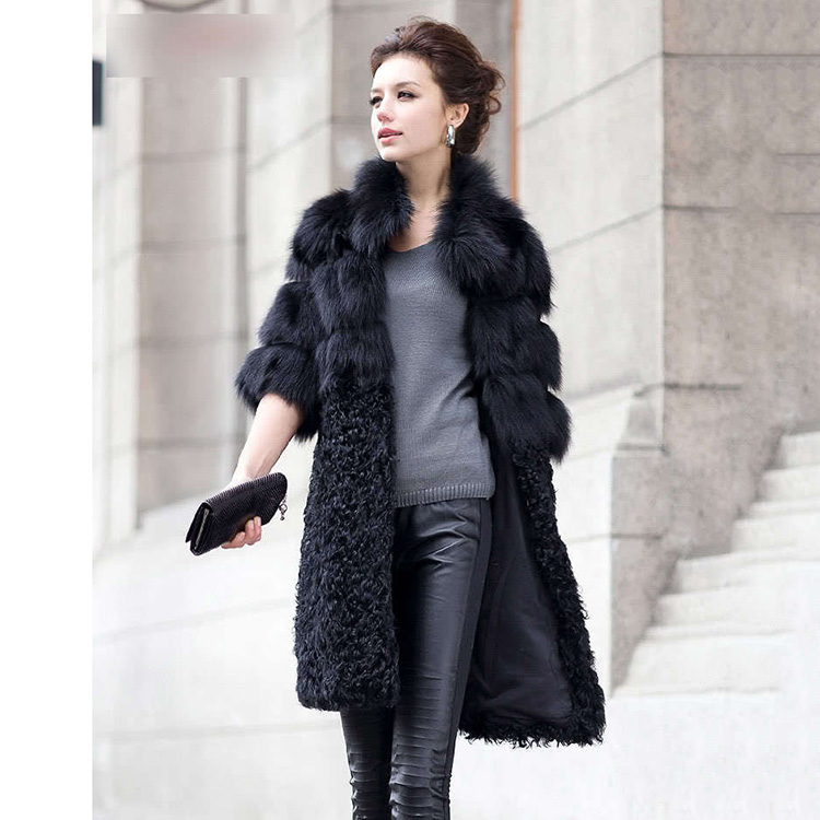 2018 New Women Natural Winter Coat Real Fox Fur And Lamb Fur Middle Long Coat Black Fashion Female Jackets Warm Thick Outwear