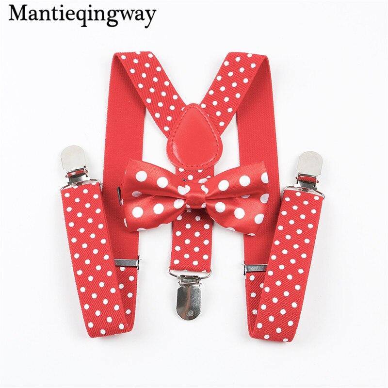 Mantieqingway Classic Polka Dots Suspenders Baby Adjustable Elastic Suspender Brace Belt Strap For Wedding Bow Tie Brace Sets
