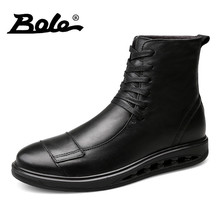 BOLE Big Size 38-46 Men Leather Boots Autumn New Comfort Lace Up Men Motorcycle Boots Handmade Glitter Genuine Leather Men Boots