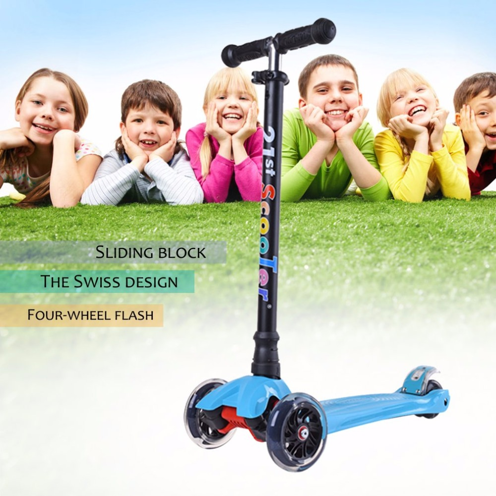 Lightweight Adjustable Height 4 Wheels LED Flashing Light Children Kick Scooter Kids Outdoor Playing Bodybuilding Scooter Toy three flashing wheels children scooter gravity steering foldable free installation for toddler kids walker outdoor free shipping