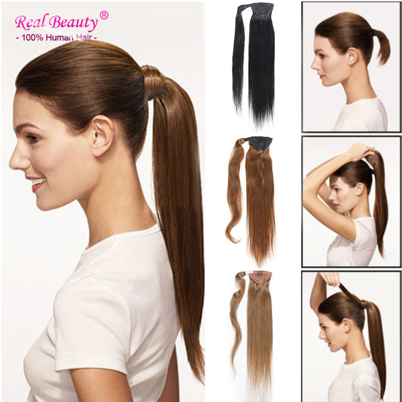 Human Hair Drawstring Ponytail Extension ALI BEAUTY Real Hair Ponytail Hairpiece Brazilian Human Hair Ponytail Clip Hair Pieces