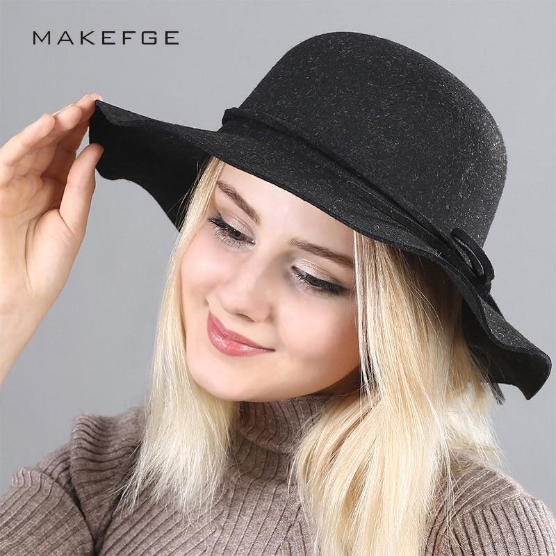 AIWOSHOW 2017 Brand Fedora Vintage Church Hat Wedding Hats For Women Elegant British Style Bow tie  Bowler Hats Autumn Fedoras