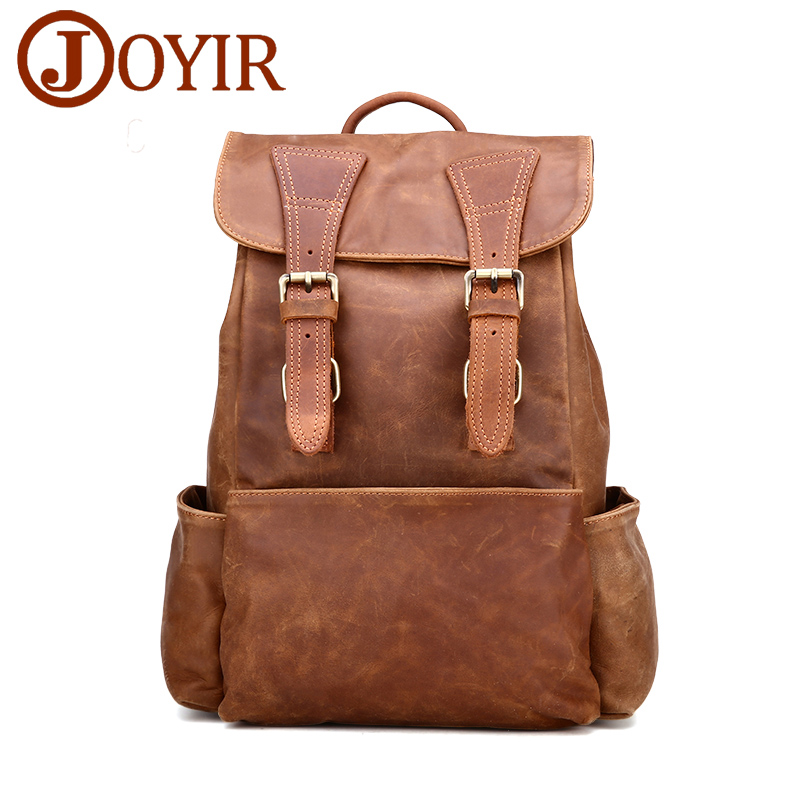JOYIR New woman backpacks first layer cowhide leather Large backpack vintage school bag travel bag for