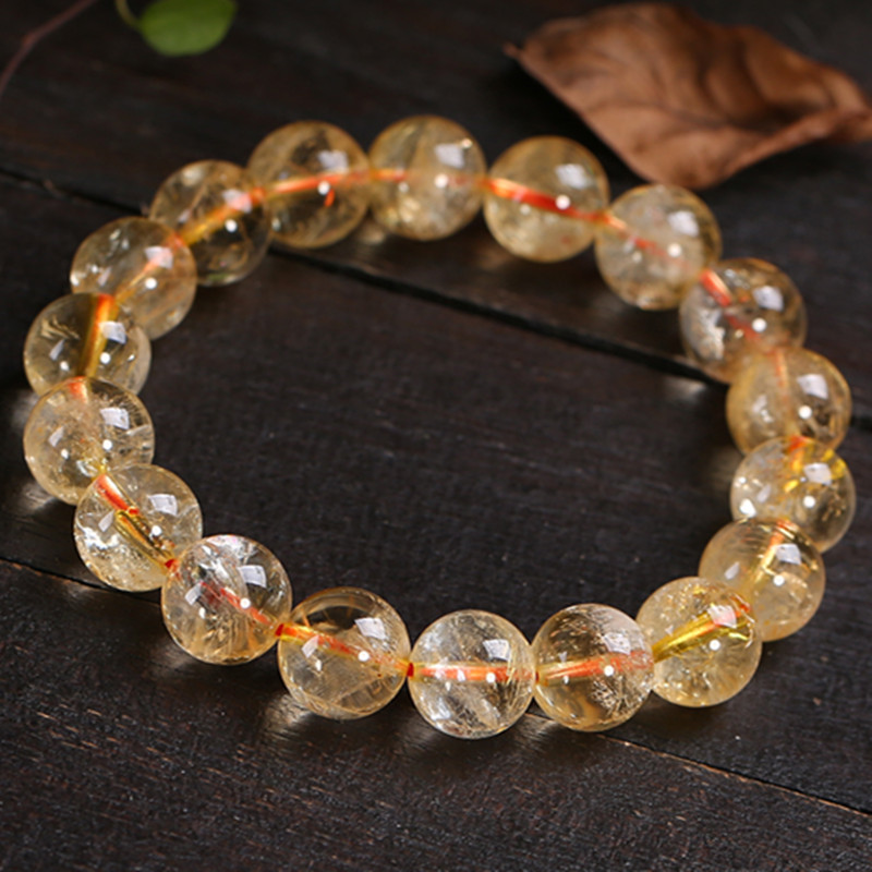 Natural Stones Yellow Brazil Citrine Bracelets Round Beads Bangle Creastly Material Men Women Crystal Jewelry Love