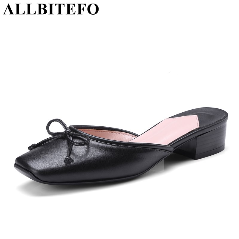 ALLBITEFO full genuine leather square toe thick heel women sandals sweet bowtie high heels summer sandals women Slipper lastest women summer sweet sandals slipper fashion solid color suede flower bow hasp flat heel square toe sandals schuhe damen