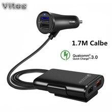 Быстрый QC3.0 автомобильное зарядное устройство 2.4A + 3.1A 4 USB порты и разъёмы с 5.6ft удлинитель Кабель для заднего сиденья зарядки с зажимом iPhone, смартфона