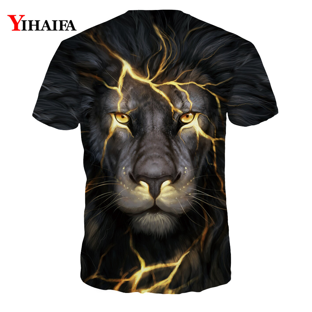 Hipster 3D T Shirt Men Women Lightning Crack Lion Print Casual Tee Shirts Unisex Creative Graphic Tees Hip Hop Tops in T Shirts from Men 39 s Clothing