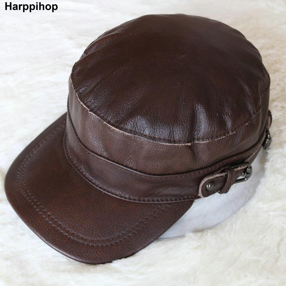Harppihop Men's genuine leather baseball cap hat brand new spring real cow skin leather hats caps 2018 sale new brand fashion genuine leather cadet for man baret cowhide flat cap cabby hat vintage baseball ivy driving cs89
