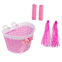 Girls Kids Bicycle Removable Basket Tricycle Bike Pannier With Strap Handlebar Streamers And 1 Pair  Pink Grip