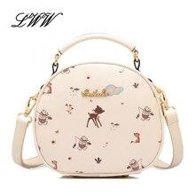 Fashion Flowers PU Leather Circular Bags Handbags Women Famous Brands Cartoon Printing Women Shoulder Bags Lolita Style borsa