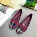 Мода Заклинание Цвет Плед Площади Toe Бантом Дизайн Большой Размер 40 41 42 Низкие Толстые Каблуки 2016 Элегантный Очаровательная Одноместный обувь