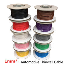 5meters/lot 1 MM2 Auto Cable 12/24V 32/0.2mm Stranded Copper Wire Cores Thinwall Car Boat Van Vehicle Wire Connection Wire(China)