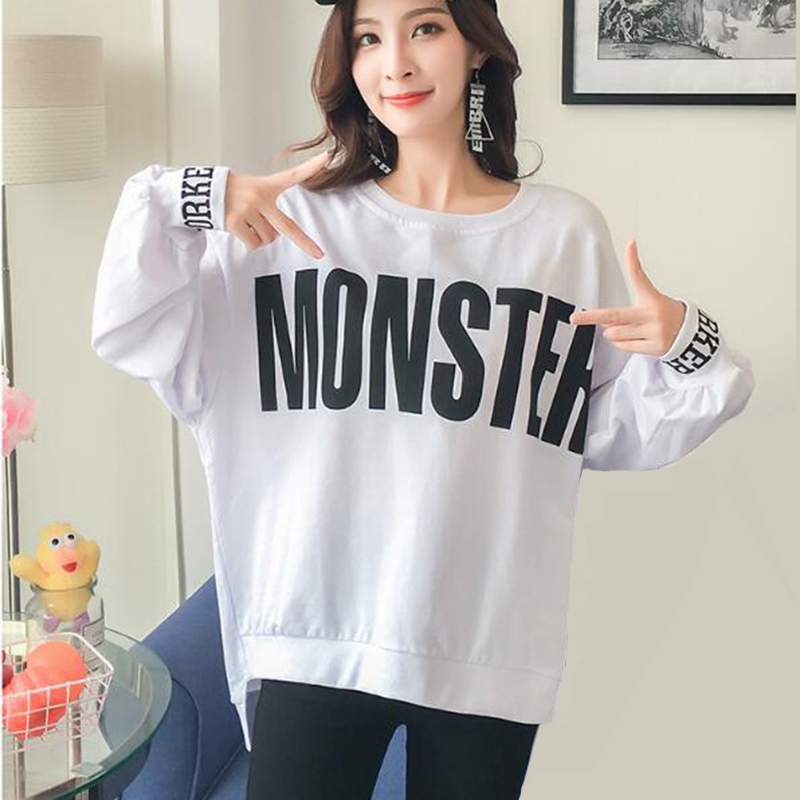 36b4c81e8d2 2018 Korean Plus Size Women Sweatshirt Letter Print Long Sleeve Pullover  Bts Hoodie Hip Hop Sudadera