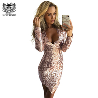 Rocksir Women Silver Gold Sequined Party Dress Fashion V Neck Club Wear Vintage Long Sleeve Mini Sexy Bodycon Dresses Robe Femme