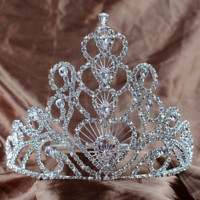 Stunning Large Tiaras Wedding Bridal Crowns 14.5cm Hearts Clear Austrian Rhinestones Crystal Pageant Prom Party Headband