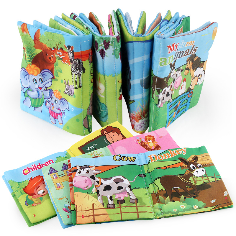 Baby Soft Cloth Books English Cartoon Animal Cognition Early Learning Educational Cloth Book Toys For Baby Kids Shower Bath
