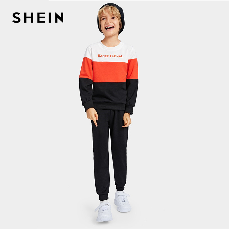 SHEIN Kiddie Letter Print Color Block Sweatshirt And Pants Boys Two Piece Set 2019 Spring Long Sleeve Casual Children Suit Set feather print sweatshirt
