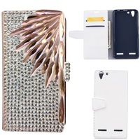 DIY Bling Rhinestone PU Leather Magnetic Flip Stand Wallet Phone Case Cover For Lenovo Vibe K5