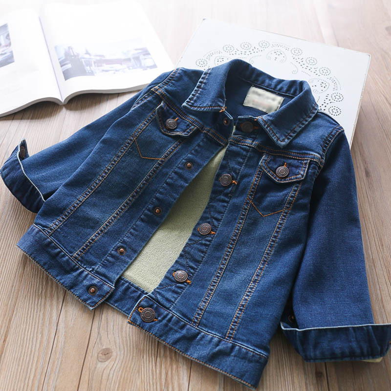 2018 Autumn Girls Lapel Solid Color Stretch Denim Jacket Children's Coat Children's Clothing Wholesale