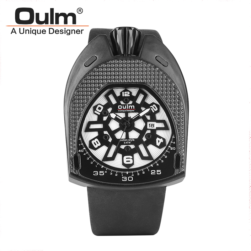Oulm Watch 3710 Luxury Brand Man Leather Srap Quartz-Watch Clock Male 3 ATM Sports Watches Montre Homme Military Men's Watches mens watches oulm brand luxury military quartz watch unique 3 small dials leather