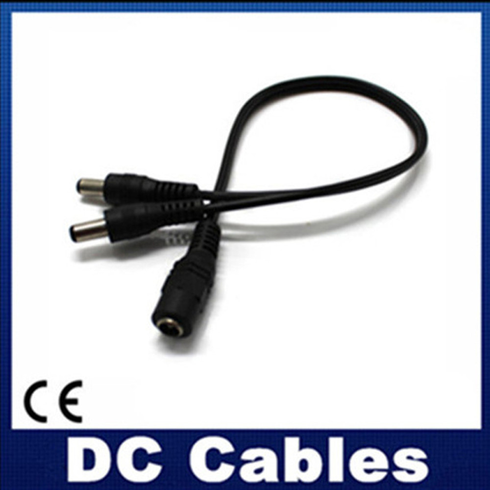 2PCS/LOT DC Power Jack Splitter Adapter Connector Cable 1 DC Female To 2 Male plug For CCTV Camera LED Strip Light