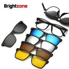 Brightzone New 5+1 Suit Fashion Clip On Yellow Sunglasses Women Frames Magnetic Eyeglasses Men Glasses 6 In 1 Transparent Lens