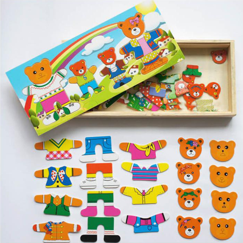 A Happy dress up bear family changing clothes wooden puzzles Montessori Educational Dressing Jigsaw Toys for Children brinquedos children s early childhood educational toys the bear change clothes play toys creative wooden jigsaw puzzle girls toys
