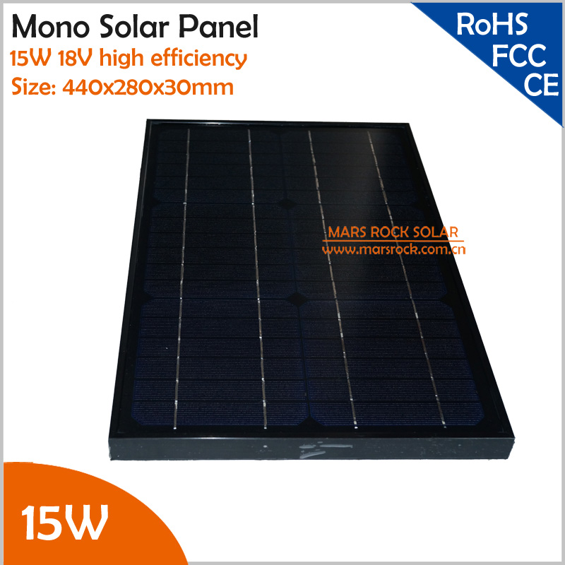 15W 18V High Efficiency Tempered Glass laminated Monocrystalline Solar Panel in Black Color with Small Junction Box high conversion rate and high efficiency output 18v 100w monocrystalline solar panel semi flexible diy solar module for boat rv