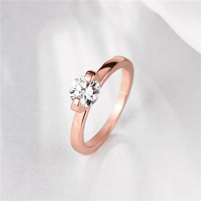 Woman engagement ring rose gold color with AAA zircon fashion