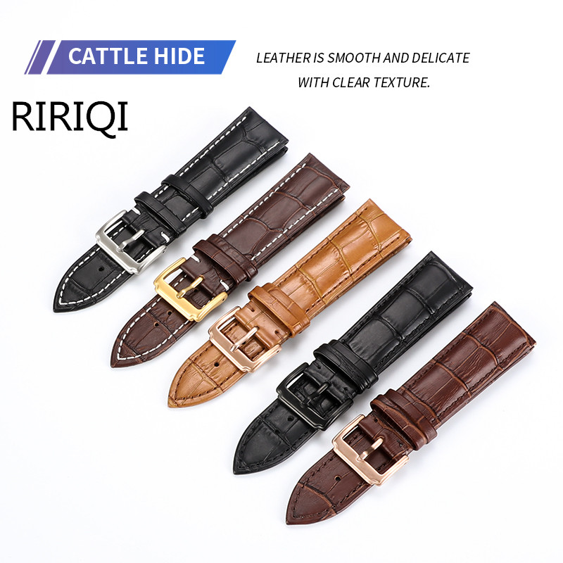 Watchband Soft Calf Strap12 14 16 18 20 22 24mm Stainless Steel Pin Buckle  Wristband