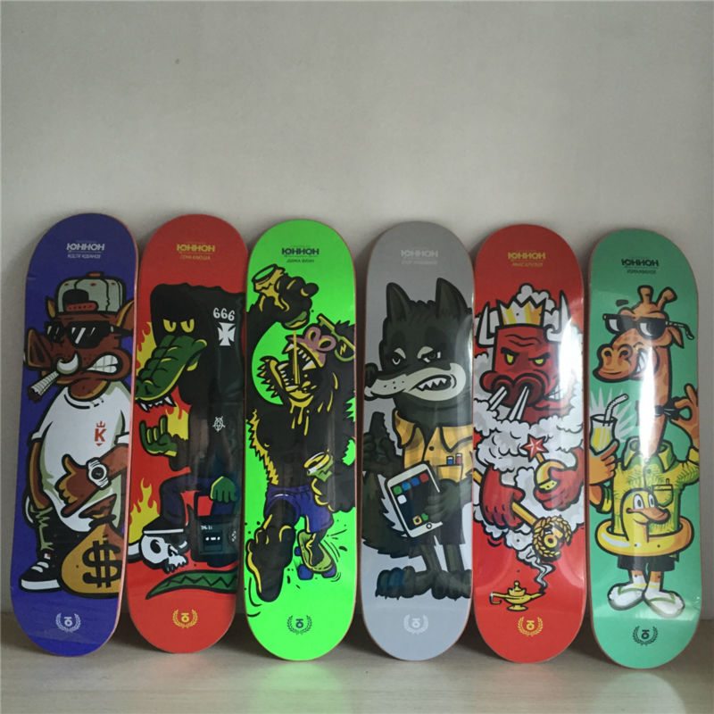 8inch Pro Quality Skate Board deck made by 100% canadian Maple Wooden Skateboarding Decks Dragon SKATE Pattern 8 Shape Skate