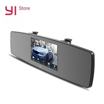 YI espejo Dash Cam HD frente trasera vista Dual de la cámara del tablero de instrumentos del coche grabadora de cámara de pantalla táctil G Sensor de visión nocturna monitor