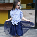 Summer Children's Clothing Girl Set Blue Striped Half Sleeves Turn-down Collar Girls Blouse + Gauze Skirt  Suits Kids Clothes