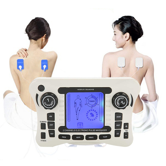 Electric Massagers for The Body Tens Machine Vibrator Massage Relaxing Body Blue Display Channel Dual Output 10 Massage Mat
