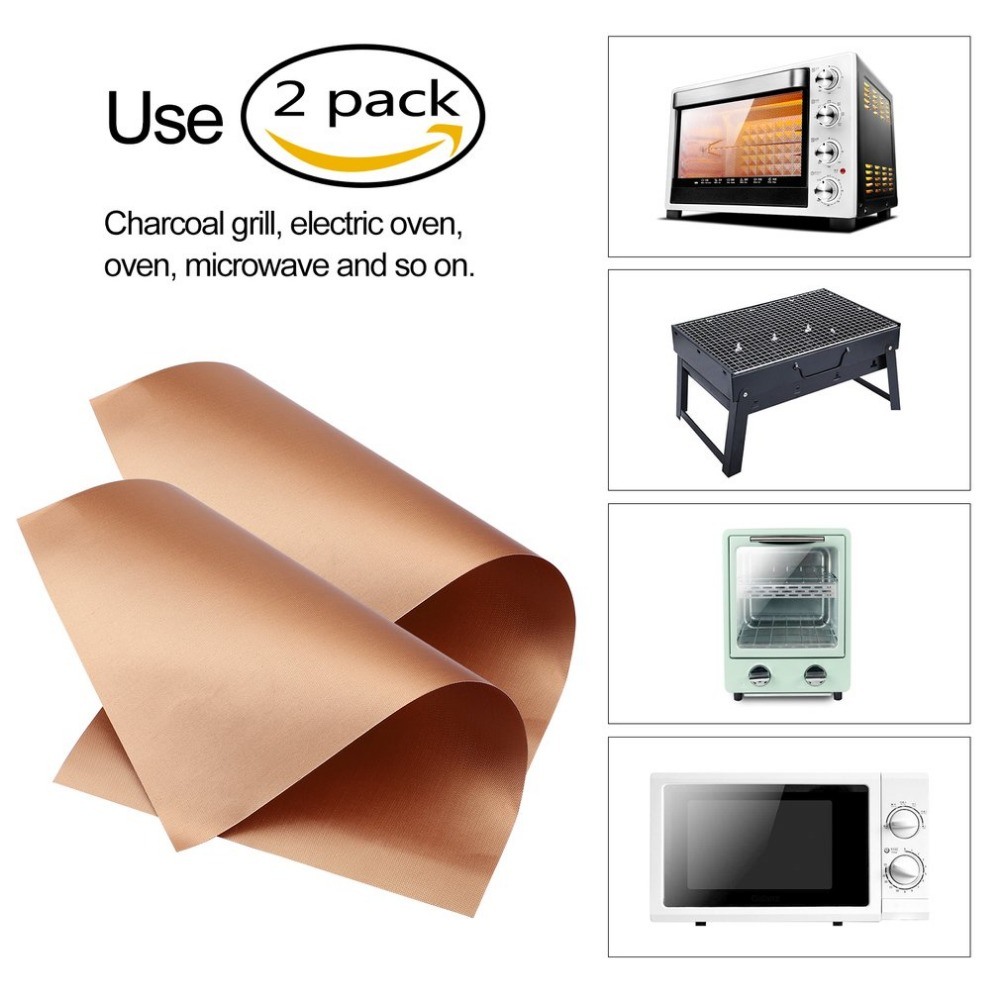 MANBO Pack Kitchen Copper Chef Grill and Bake Mats Outdoor BBQ Tools Barbecue Roast Sheet Drop Shipping 40*33cm/34*23.5cm Hot