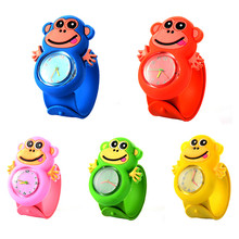 3D Monkey Children Watches Cartoon Soft Silicone Quartz Kids Slap Watches Casual Sports Boy Girl Wristwatch 2017 Cute Baby Clock