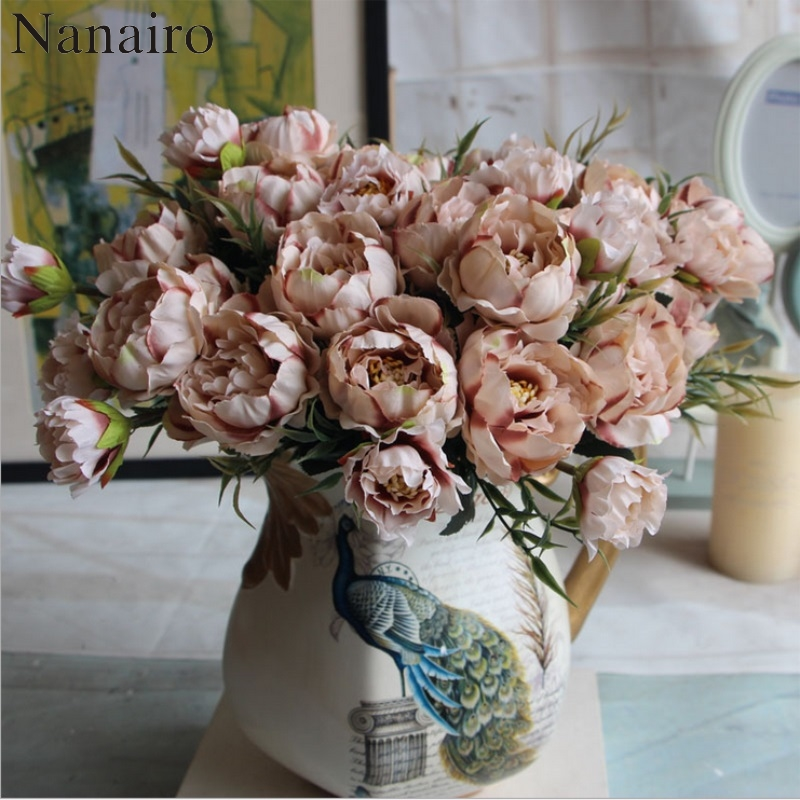1 Bouquet European Pretty Wedding Mini Peony Artificial Silk Flower bouquet Flores Bride Home Decoration Cheap Fake Flowers