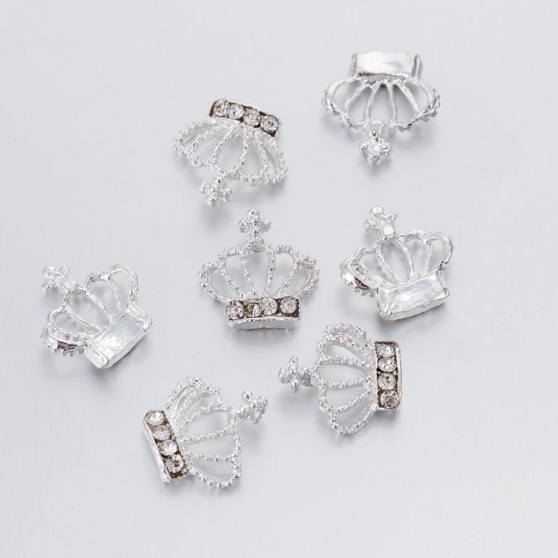 10Pcs 3D Nail Art Decorations Metal Glitter Crown Rhinestones Nails Charms Diamonds For Manicure Decor in Rhinestones Decorations from Beauty Health