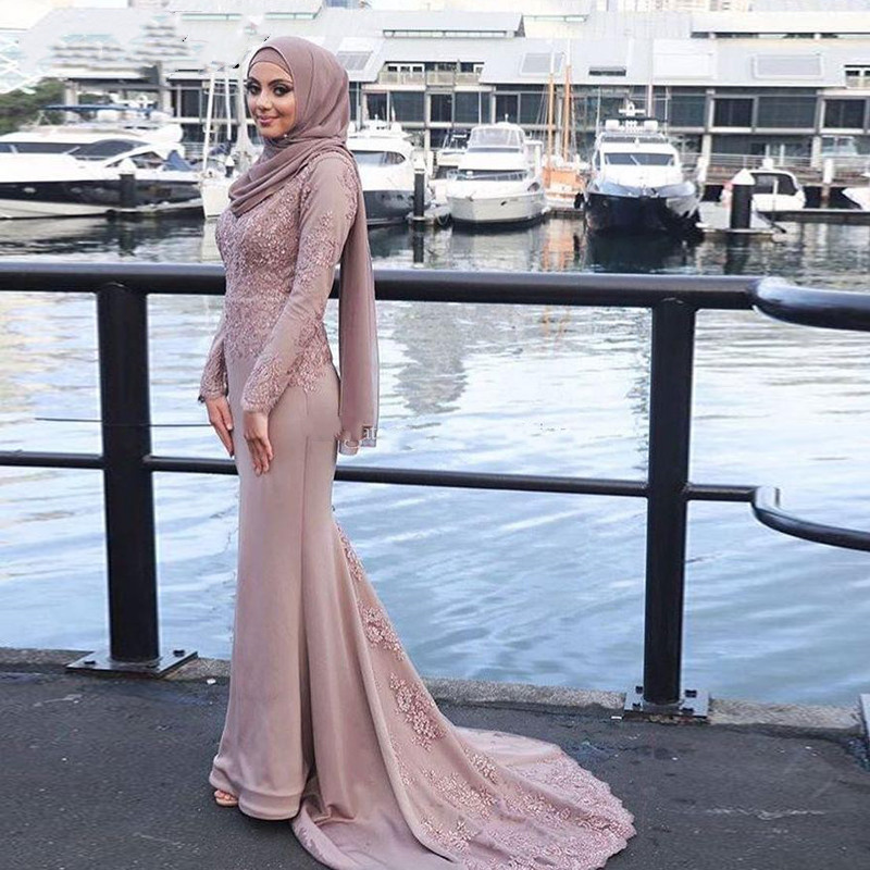 Muslim   Evening     Dresses   Appliques Mermaid Long Sleeves With Scarf Islamic Dubai Saudi Arabic Long Prom Gown abendkleider 2019