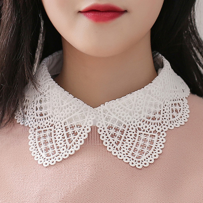 All-match Collar Lace Shirt Fake Water Soluble Sweet Sleeveless Collar Sweater Bowknot Ribbon Cotton Lace Edge Fashion Wild